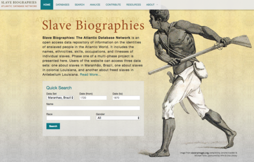Screenshot of Slave Biographies website depicting drawing of an African man with tools.