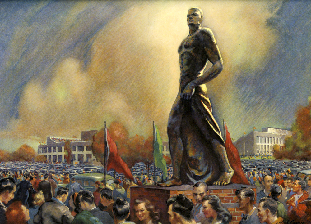 Painting of the Spartan Statue with a crowd