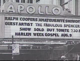 Video screenshot of the Apollo theatre marquee.