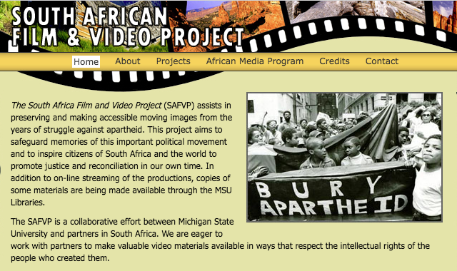 Screenshot of the home page of the South African Film & Video Project.