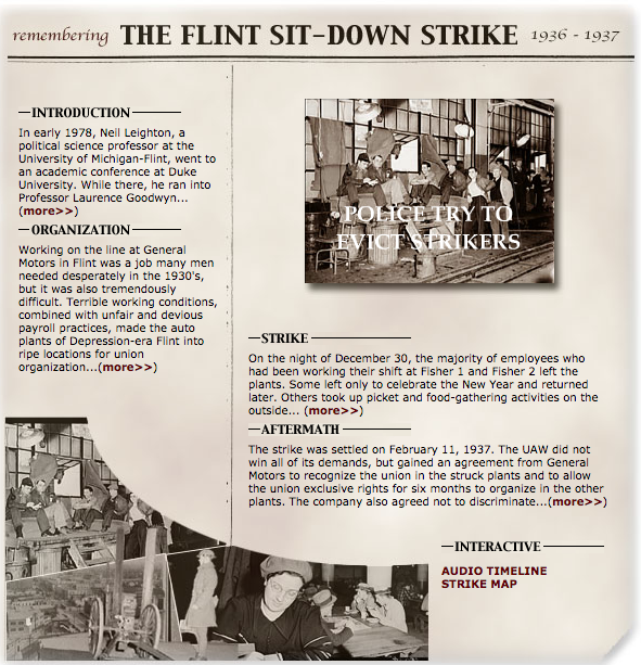Graphic showing information about the Flint Sit-Down Strike.