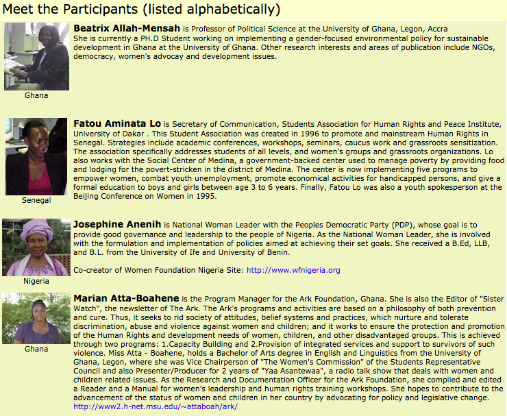Screenshot listing some of the workshop participants.