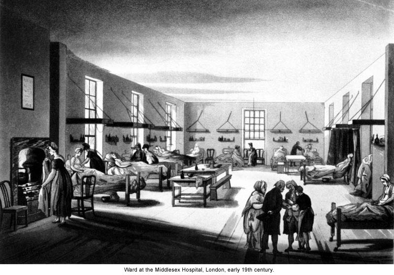 Black and white drawing of an early 19th century London hospital ward.