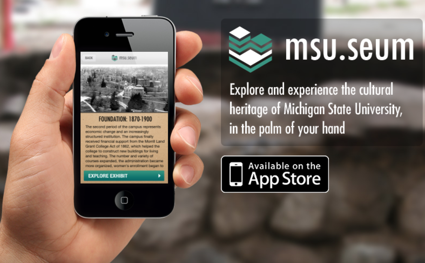 Screenshot of smartphone showing the msu.seum app.