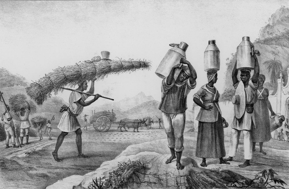 drawing of individuals carrying grass and milk jugs