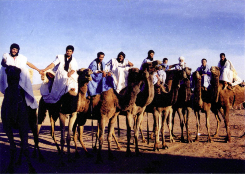 group of soldiers on camels in desert