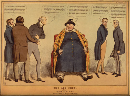 Drawing of a large Chinese man and several doctors.
