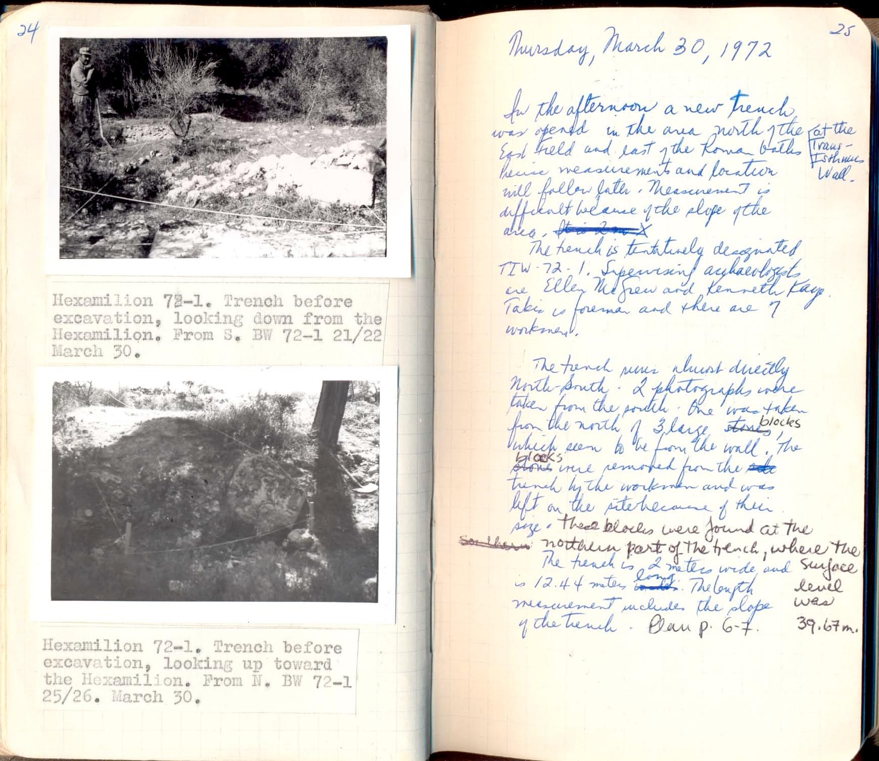 Photograph of a spread with notes and images from an archeological excavation notebook.