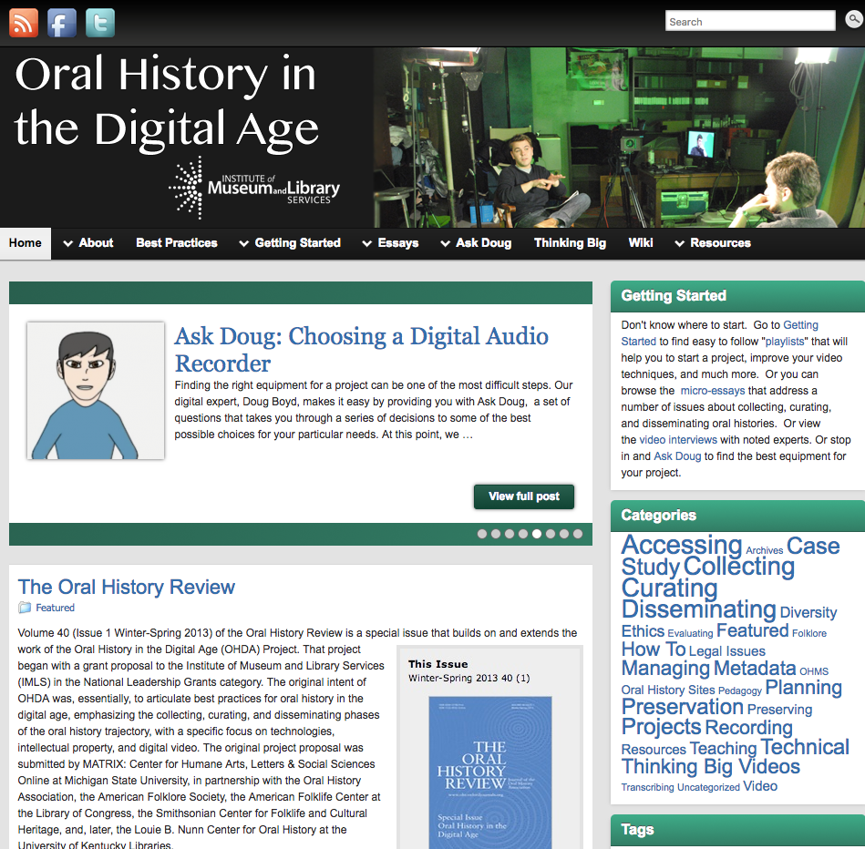 Screenshot of OHDA website
