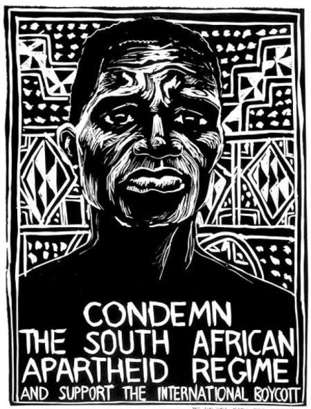 Graphic poster against apartheid in South Africa.