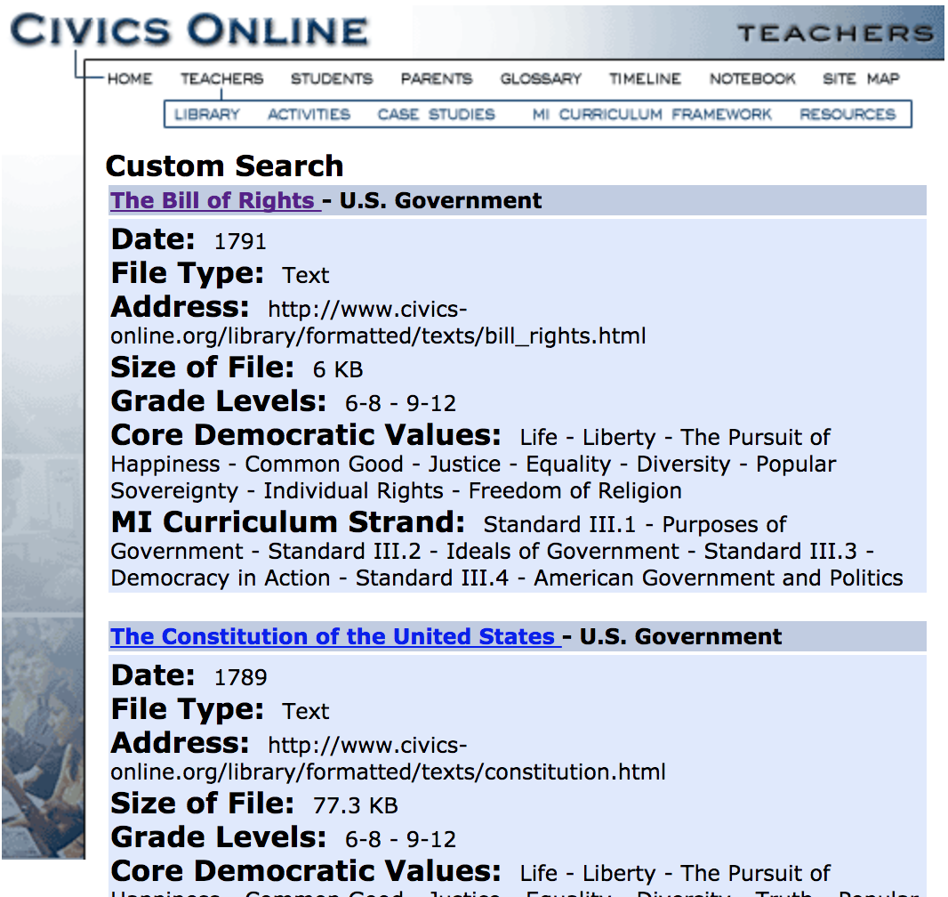 Screenshot of the results for a primary sources search on the website.