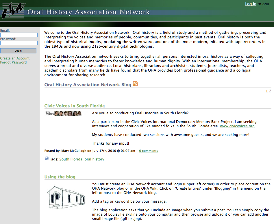 Screenshot of the OHA website.