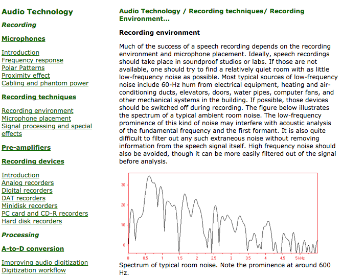 Screenshot giving information about audio recording.