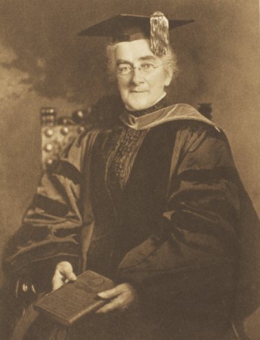 Sepia-toned image of Ellen Richards in cap and gown.