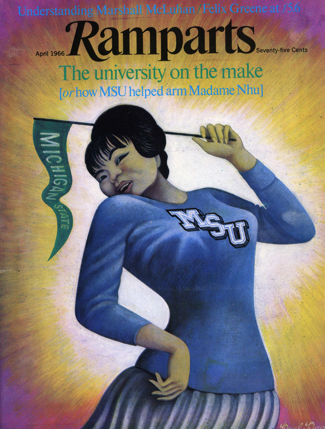 Magazine cover drawing of a vietnamese woman wearing MSU outfit