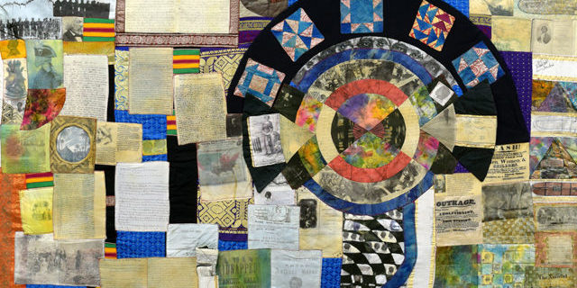 Image of collage quilt about the transatlantic slave trade.