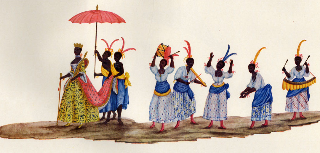 historic drawing of Africans wearing fancy clothes