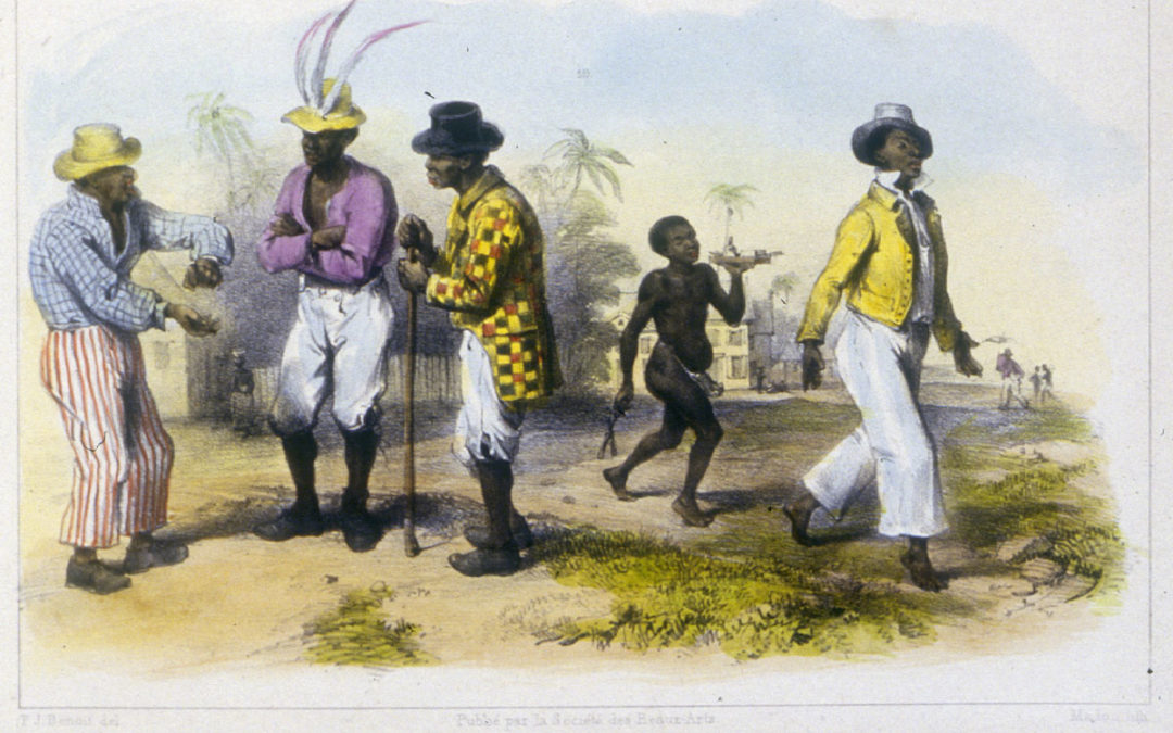 historic drawing of African men wearing fancy clothes